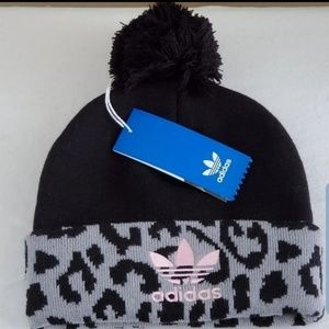 Adidas Pom Pom Animal Print Beanie Hat